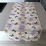 1KDreams Tovaglia Runner in Cotone 50x140 cm. Fantasia Shabby Chic con Farfalle monarca. Made in Italy. (50x140 cm)