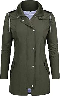 Womens Jackets Waterproof Outdoor Lightweight Raincoat Striped Lined Rain Hooded Coat