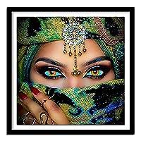 100%フル5DDiyダイモンド絵画クロスステッチ「ミステリアスベールウーマン」3Dダイヤモンドラインストーン絵画刺繡スクエア50x50cm