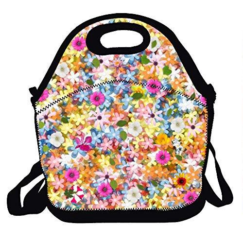 ARTMOVA - Bolsas de almuerzo grandes, resistentes a la moda, para adultos, aislamiento, para escuela, trabajo, oficina, picnic al aire libre, poliéster, Floral., 11.4(29cm)X11.4(29cm)X6.3(16cm)