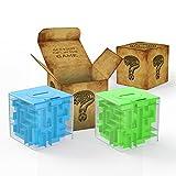 ThinkMax Money Maze, Puzzle Box Money Saving Cube Toys, 3D Puzzle Box para niños y Adultos (Verde&Azul)