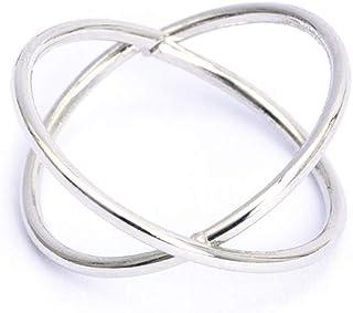 SSCASE Criss الفضة مزدوجة X إصبع الدائري الاسترلينية واسعة المفاصل خواتم قابلة للتكديس للنساء / السيدات/الفتيات مصقول الحجم 8