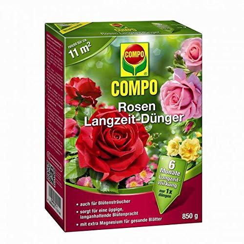 Compo Rosen Langzeit Dünger | 6 Mo. Langzeitwirkung | alle Rosenarten, Blütensträucher, Kletterpflanzen