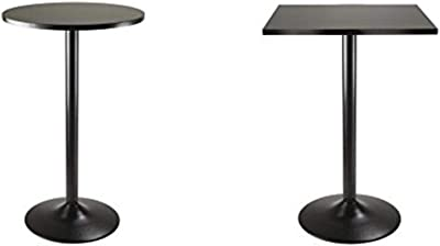 Winsome Obsidian Pub Table Round Black Mdf Top with Black Leg And Base - 23.7-Inch Top, 39.76-Inch Height + Winsome Obsidian High Table Square Black Mdf Top with Black Leg And Base_Bundle
