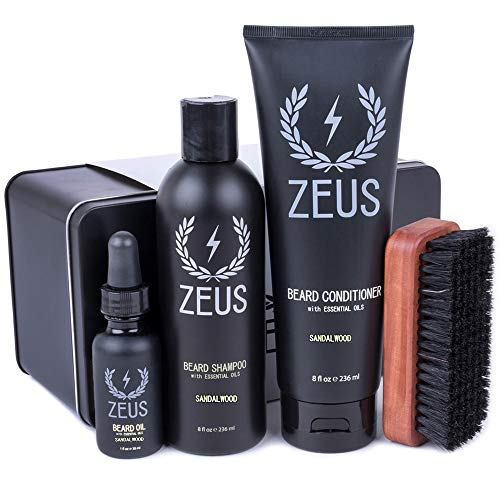 ZEUS Deluxe Beard Grooming Kit for Men - Beard Care Gift Set to Soften Hairs and Prevent Itchiness and Dandruff (Scent: Sandalwood)