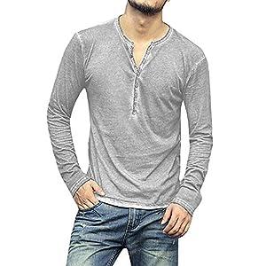 Men's Long Sleeve Henley Shirt  Cotton Casual Tops V Neck Tees Lightweight Slim Fit Buttons Plain T Shirts