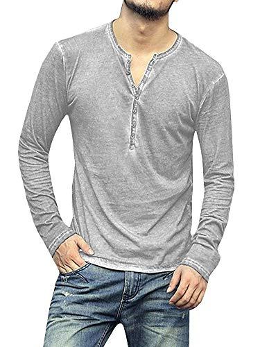 Men's Long Sleeve Henley Shirt Cotton Casual Tops V Neck Tees Lightweight Slim Fit Buttons Plain T Shirts 3