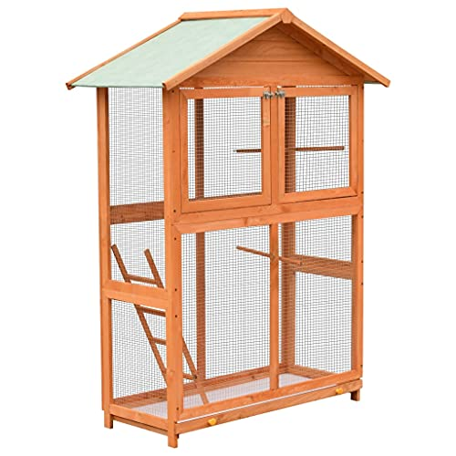 vidaXL Solid Pine & Fir Wood Bird Cage 120x60x168cm Aviary House Habitat...