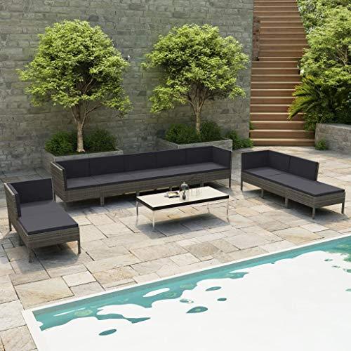 vidaXL Gartenmöbel 10-TLG. mit Auflagen Lounge Sofa Garten Garnitur Sitzgruppe Sitzgarnitur Gartenset Gartensofa Ecksofa Mittelsofa Poly Rattan Grau