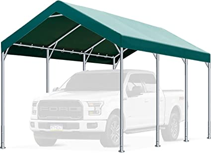 Amazon Com Finfree 10 X 20 Ft Heavy Duty Carport Car Canopy Garage Shelter For Outdoor Party Birthday Garden Boat Adjustable Height From 9 5 Ft To 11 Ft Green Garden Outdoor