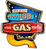 DiiliHiiri Cartel Retro Luminoso Garage Vintage Letrero Metálico Artesania Accesorios Decoración Hogar (Route 66 Gas Station)