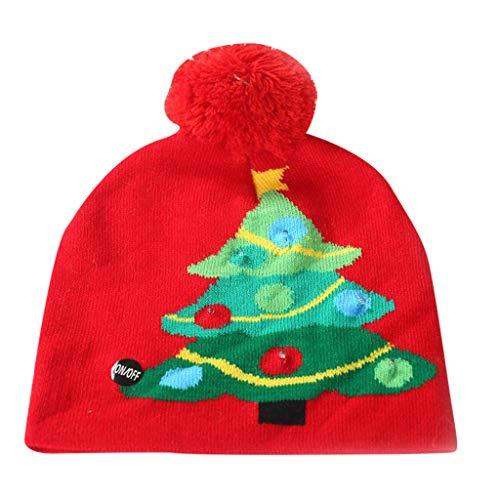 Dasongff Kerstmis LED muts hoed partyhoed oplichtend gebreide muts baby kinderen volwassenen kerstmuts wintermuts Xmas winter sneeuw hoed grappig S/M Medium rood