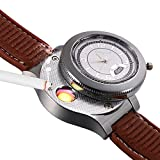 JewelryWe Novelty Quartz Wrist Watch with USB Electronic Rechargeable Windproof Cigarette Lighter for Men (Brown)