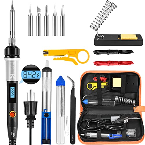 Soldering Iron Kit, 80W LCD Digital Soldering Gun with Adjustable Temperature Controlled, ON-Off Switch, 5pcs Soldering Tips, Solder Wire Tube, Desoldering Pump, 14pcs Welding Tool from MotyGarlo