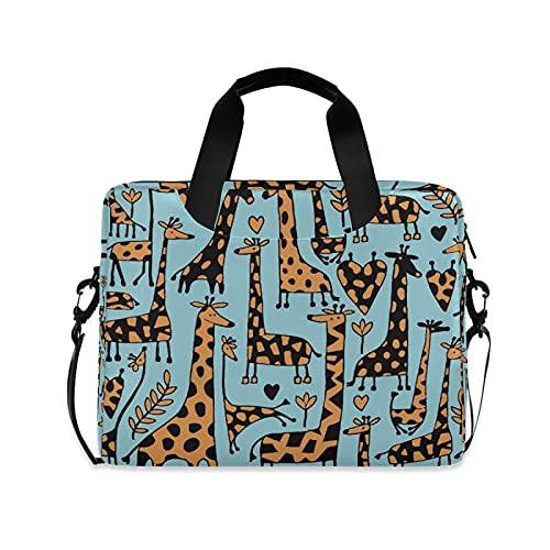 JNlover Animal Giraffe Love Heart Laptop Bag 16 inch, Portable Sleeve Briefcase Laptop Case Notebook Computer Carrying Case Bag for Women Men