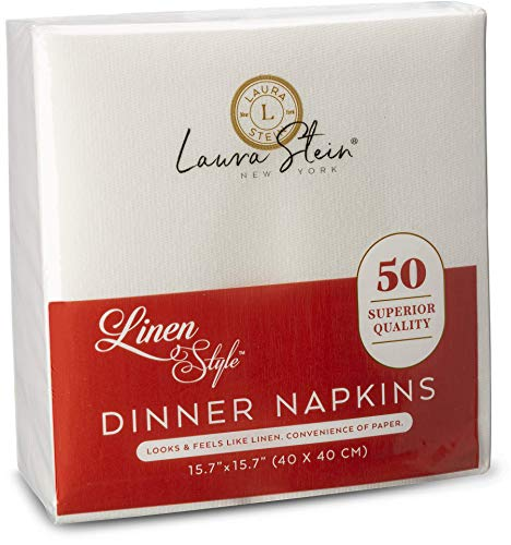 Laura Stein Linen Style White Dinner Napkins (50 Pack)   Disposable Napkins of, Soft Touch & High Absorbency   Napkins for Parties, Weddings, Restaurants, Catering Events or at Home