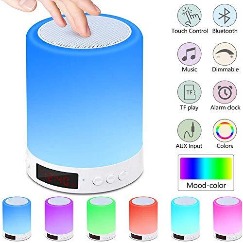 Bluetooth Lautsprecher Lampe, Touch Sensor Nachtlicht Nachttisch Lampe mit Wecker FM Radio, Dimmbares warmes Licht & 7 Farbwechsel tragbare Camping Laterne, Geschenk für Junge Frauen Männer