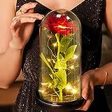 Comius Sharp Rosa Eterna, Rosa de Seda roja y luz LED en la cúpula de Vidrio en la Base de Madera Ideal para el Día De San Valentín/Día de La Madre/Aniversario/Boda/Regalo