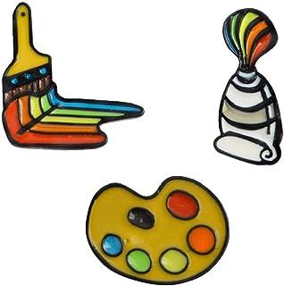 Palette Arcobaleno Smalto Broon Pin Pittore Pennelli Accessori per Abbigliamento Breastpin 3Pcs