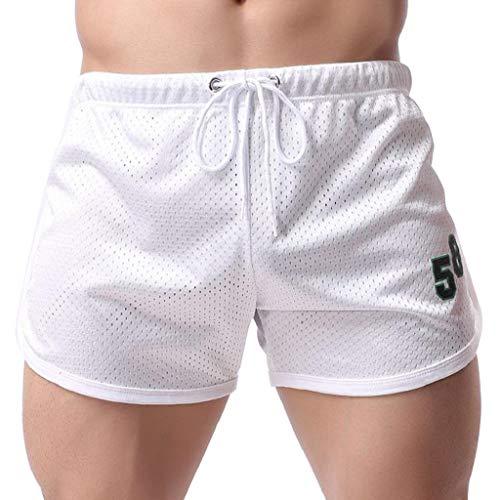 Pantalones Cortos Hombre Deporte Verano 2019 Nuevo SHOBDW Casual Pantalones Hombre Chandal Cordón Casual Fitness Baratos Transpirable Pantalones Hombre Vaquero(Blanco,XL)