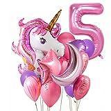 Unicorno decorazioni compleanno 5 anno,3D Unicorno Decorazioni per feste di Compleanno Ragazza Foil Palloncino Numero 5 Decorazione del partito per feste per bambini