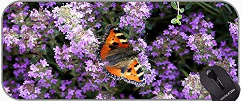 rutschfeste Gummi Gaming Mauspad, weißer Lavendel Schmetterling Lavendel Blumen Makro Büro Mauspad