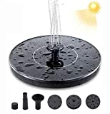 Nitoer Solar Fountain Pump, Garden Decorations, 1.5W Free Standing Floating Solar Powered Fountain