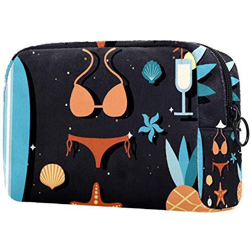 Kosmetiktaschen für Frauen, Schminktaschen Geräumige Kulturbeutel Reiseaccessoires Geschenke - Fruit Surf Bikini