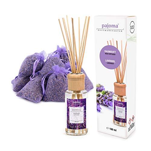 pajoma 10 Lavendelsäckchen Lavendelbeutel Sachets Plus wahlweise mit Duftöl Raumduft oder Kerzen (Raumduft Set)
