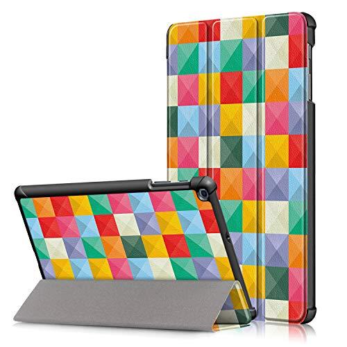 Xuanbeier Custodia Ultra Sottile Compatibile con Samsung Galaxy TAB A 10.1 SM -T510 T515, Custodia stagna per Galaxy Tab A 10.1 Versione 2019,Cubo colorato