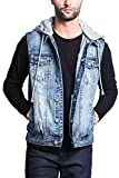 Victorious Detachable Hood Denim Jean Vest Jacket DK108 - Distressed Indigo - Large - GG1F