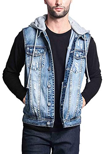Victorious Detachable Hood Denim Jean Vest Jacket DK108 - Distressed Indigo - Medium - GG1F