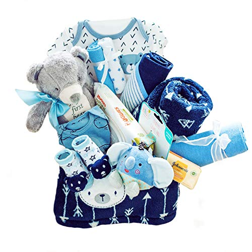 Baby Boy Gift Basket - Newborn Essentials Must Haves Baby Gift Set Great for Baby Shower Gifts and Welcome Baby Home - Baby Boys Gifts Ideas