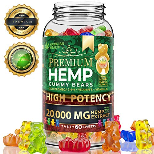 Wellution Hemp Gummies 2,000,000 High Potency - Fruity Gummy Bear with Hemp Oil. Natural Hemp Candy Supplements for Pain, Anxiety, Stress & Inflammation Relief. Promotes Sleep & Calm Mood