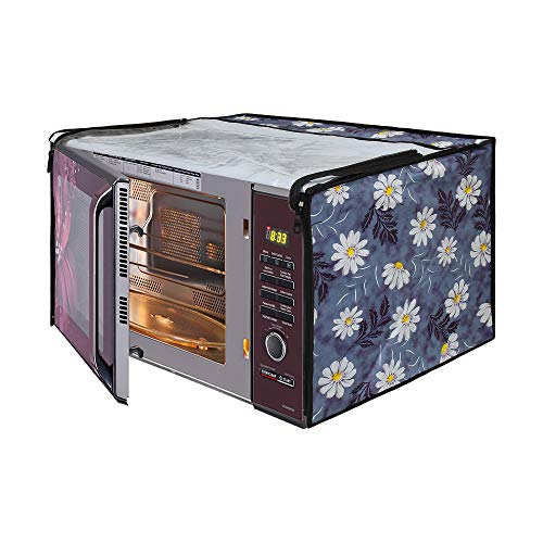 Glassiano White Flower Printed Microwave Oven Cover for LG 32 Litre Convection...