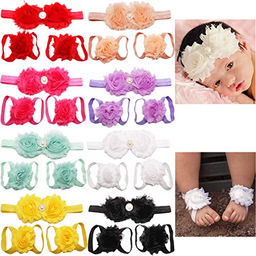 8 Sets Baby Foot Flower and Hair Accessory,Barefoot Sandals Flower Headbands Set for Baby Girls Indoors Wearing