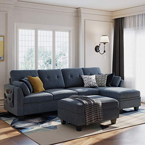 HONBAY Convertible Sectional Sofa Couch Set L-Shape Sofa Couch Set 4 Seat Sofa Sectional with Storage Ottoman for Living Room,Bluish Grey (Sectional+Hydraulic Rod Ottoman)