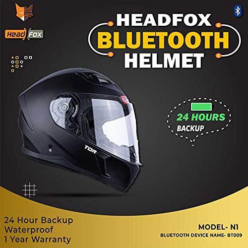 HEADFOX RTPR Smart Bluetooth N1 Motorbike Helmet (MATT- Raptor)