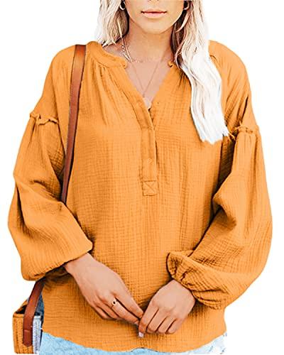 datasy Camiseta Mujer de Manga Larga Elegantes Blusa Suelto Camisa Top Shirts Casual con Cuello en V Fiesta Navidad Manga Larga Sexy Color Sólido Largos Tops Blusa Camisas Amarillo L