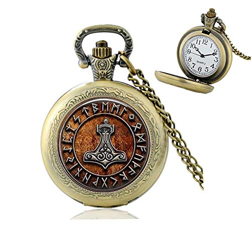 Odin Rune Pendant, Rune Pocket Watch Necklace, Celtic Jewelry, Nordic, Scandinavian Anglo Saxon, Compass Rune Pocket Watch Necklace,N236