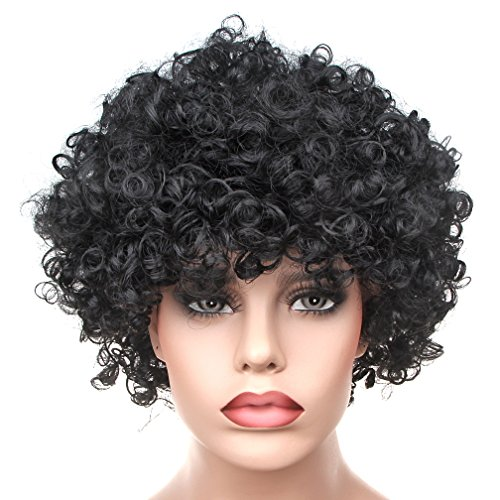 Curly Afro Wigs Fancy Dress Funky Wig Disco Clown for Men and Women Soccer Football Fans Costumes Accessory (black)
