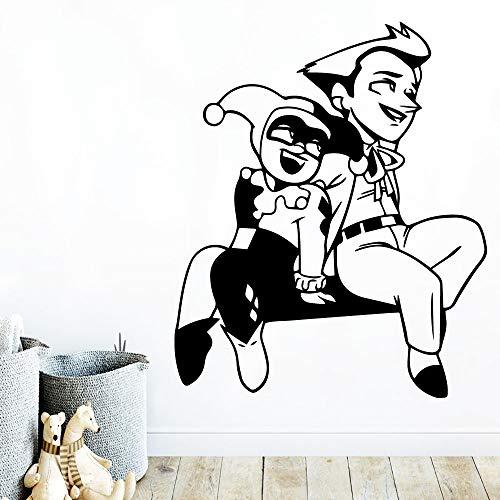 JUDING Cartoon Clown Kunst Aufkleber wasserdichte Wandaufkleber Wohnzimmer Kinderzimmer Wandkunst Aufkleber Wand Wandaufkleber Kunstplakat 57x68cm