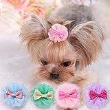 Hpybest 5 lazos para perros pequeños para el pelo del cachorro, accesorios para mascotas, clips de pelo para el aseo de Yorkshire, lazos de mesa honden
