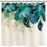 Riyidecor Duschvorhang, Aquarell, Pfauenfedern, Blaugrün, Blumen, Grünes Blätter, Badezimmer-Set, wasserfest, 182,9 x 182,9 cm, 12 Stück