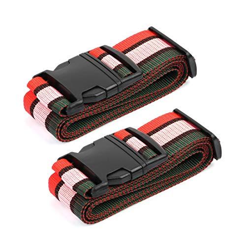 DyniLao - Paquete de 2 maletas ajustables para equipaje de viaje, correa para equipaje, mochila, cinturón cruzado, 2 m, cuatro colores