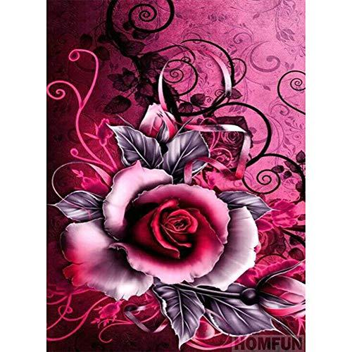 Domybest Rose 5D DIY Diamond Painting Kit Complet Fleur Bricolage Artisanat Peinture Diamant DIY Point de Croix Diamant Complet Décoration d'intérieur Cadeau 30x40cm