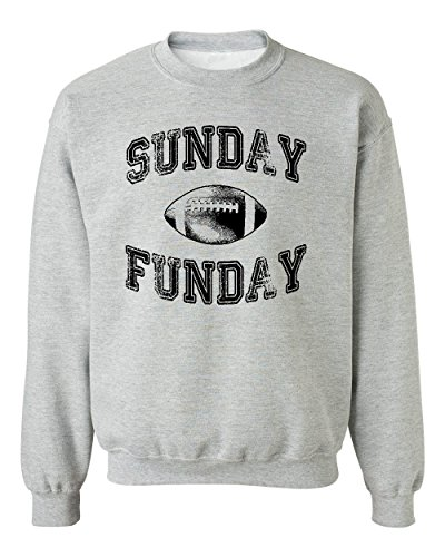 Promotion & Beyond Sunday Funday Funny Football Crewneck Sweatshirt, L, H. Grey
