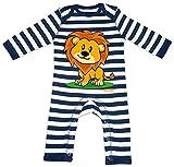 HARIZ Baby Strampler Streifen Süßer Löwe Tiere Kindergarten Inkl. Geschenk Karte Navy Blau/Washed Weiß 6-12 Monate