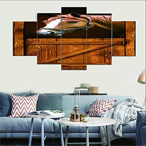 Impresiones En Lienzo 5 Piezas Caballo marrón De Lienzo Cuadros Arte De La Pared Obra De Arte Decoración para El Hogar Sin Marco XL(150x80cm)