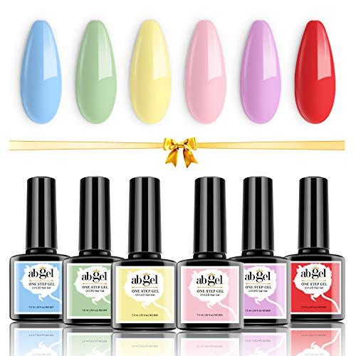 Juego de esmaltes de uñas Ab Gel Candy, 6 colores, kit de esmaltes de uñas de gel de un paso, sin necesidad de base y capa superior, rosa, amarillo, azul, verde, morado, rojo, esmalte de uñas